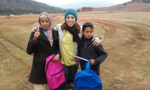 Miss Rocio in Morocco in Februrary this year with two of the students she is supporting from Marbella.