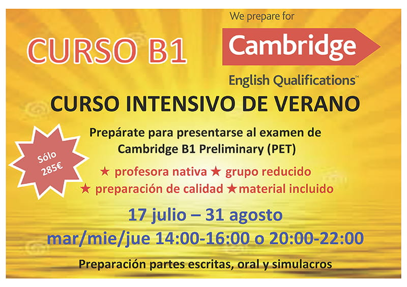 Horario de cursos de verano B1 de inglés