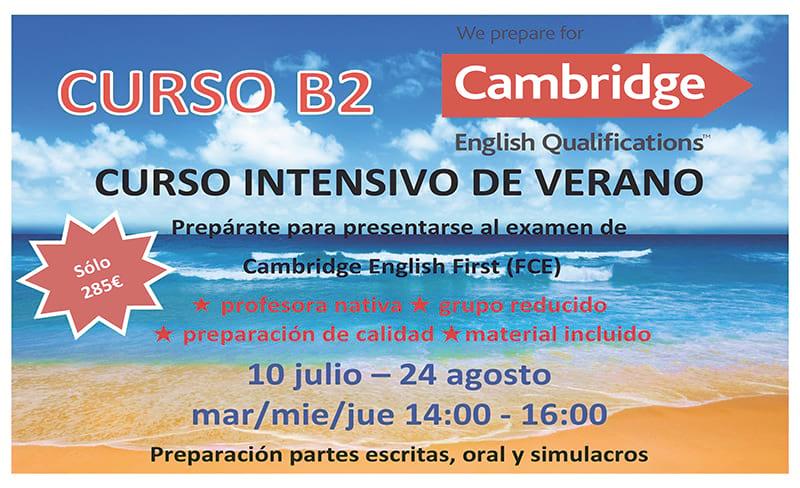 Horario de cursos de verano B2 de inglés